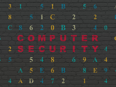 hexadecimal: Security concept: Painted red text Computer Security on Black Brick wall background with Hexadecimal Code