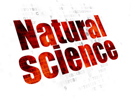 natural science: Science concept: Pixelated red text Natural Science on Digital background Stock Photo
