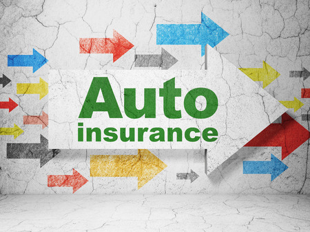 auto insurance: Insurance concept:  arrow with Auto Insurance on grunge textured concrete wall background, 3D rendering