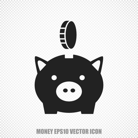 The universal icon on the currency theme: Black Money Box With Coin. Modern flat design. For mobile and web design.