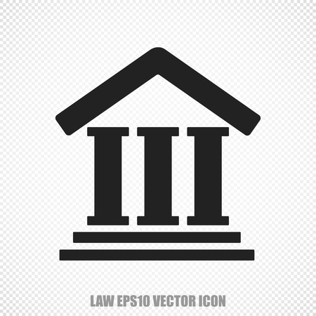 courthouse: The universal icon on the law theme: Black Courthouse. Modern flat design.