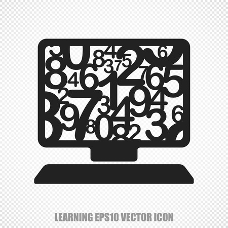 studying computer: The universal icon on the Studying theme: Black Computer Pc. Modern flat design. For mobile and web design. Illustration