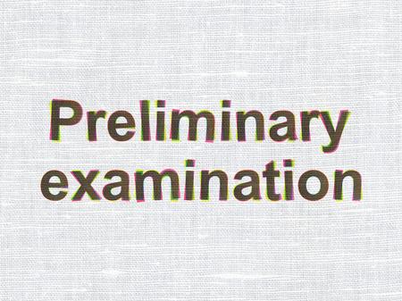 preliminary: Education concept: CMYK Preliminary Examination on linen fabric texture background Stock Photo