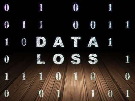 data loss: Data concept: Glowing text Data Loss in grunge dark room with Wooden Floor, black background with Binary Code