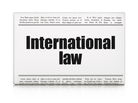 international law: Politics concept: newspaper headline International Law on White background, 3D rendering