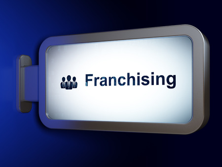 franchising: Finance concept: Franchising and Business People on advertising billboard background, 3D rendering