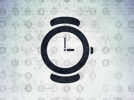 hexadecimal: Time concept: Painted black Watch icon on Digital Data Paper background with Scheme Of Hexadecimal Code