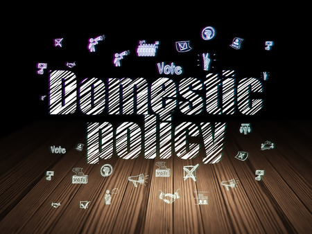 domestic policy: Politics concept: Glowing text Domestic Policy,  Hand Drawn Politics Icons in grunge dark room with Wooden Floor, black background Stock Photo