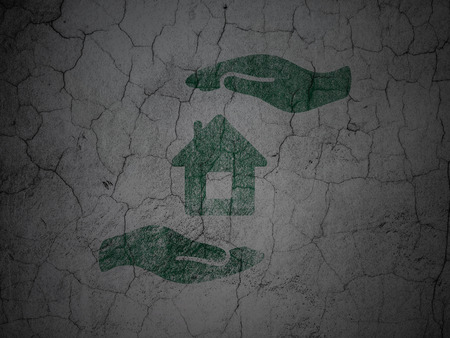 abandoned house: Insurance concept: Green House And Palm on grunge textured concrete wall background Stock Photo