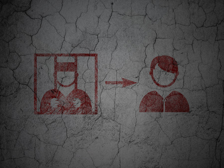 freed: Law concept: Red Criminal Freed on grunge textured concrete wall background