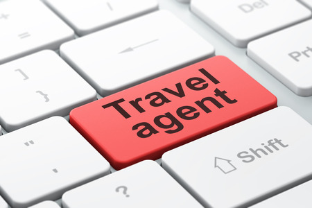 travel agent: Travel concept: computer keyboard with word Travel Agent, selected focus on enter button background, 3D rendering