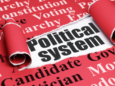 political system: Political concept: black text Political System under the curled piece of Red torn paper with  Tag Cloud, 3D rendering Stock Photo