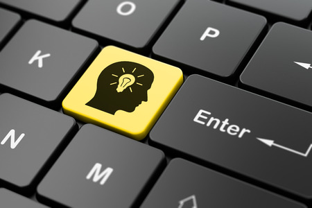 electric bulb: Advertising concept: computer keyboard with Head With Light Bulb icon on enter button background, 3D rendering