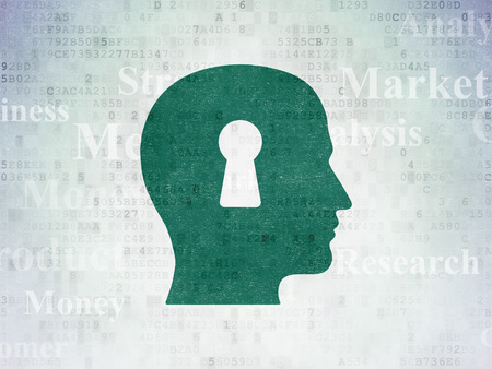 head tag: Marketing concept: Painted green Head With Keyhole icon on Digital Data Paper background with  Tag Cloud