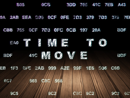 move in: Time concept: Glowing text Time to Move in grunge dark room with Wooden Floor, black background with Hexadecimal Code