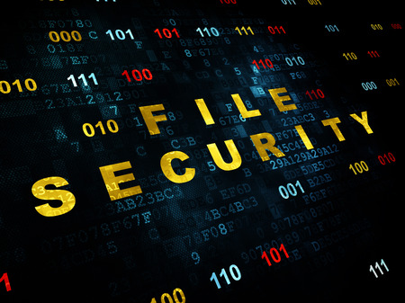 binary file: Safety concept: Pixelated yellow text File Security on Digital wall background with Binary Code