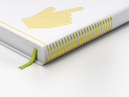 3d cursor: Social network concept: closed book with Gold Mouse Cursor icon on floor, white background, 3D rendering Stock Photo