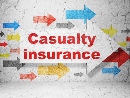 casualty: Insurance concept:  arrow with Casualty Insurance on grunge textured concrete wall background, 3D rendering