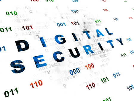 passkey: Security concept: Pixelated blue text Digital Security on Digital wall background with Binary Code Stock Photo