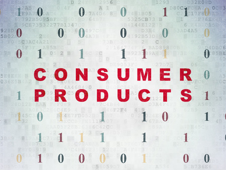 consumer products: Business concept: Painted red text Consumer Products on Digital Data Paper background with Binary Code Stock Photo