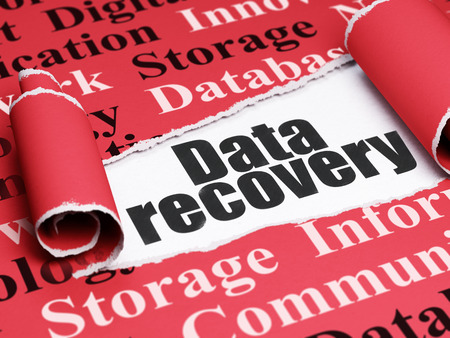 data recovery: Information concept: black text Data Recovery under the curled piece of Red torn paper with  Tag Cloud, 3D rendering