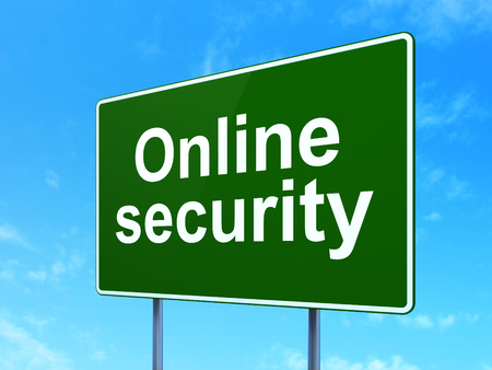online safety: Safety concept: Online Security on green road highway sign, clear blue sky background, 3D rendering