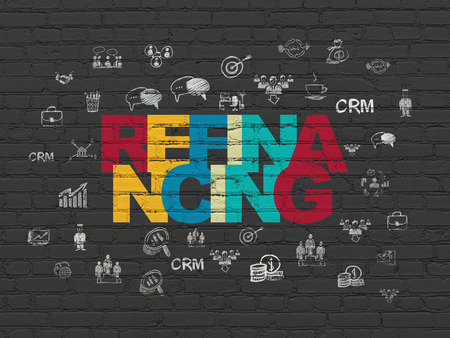 refinancing: Finance concept: Painted multicolor text Refinancing on Black Brick wall background with  Hand Drawn Business Icons Stock Photo