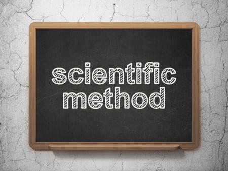 metodo cientifico: Concepto de la ciencia: Método Científico de texto en la pizarra Negro en el fondo de la pared del grunge, 3D