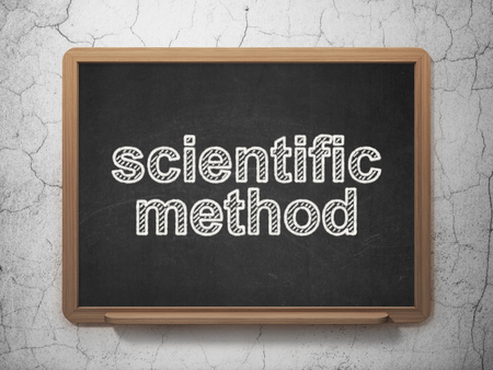 metodo cientifico: Science concept: text Scientific Method on Black chalkboard on grunge wall background, 3D rendering