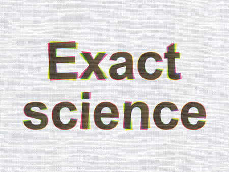 exact science: Science concept: CMYK Exact Science on linen fabric texture background