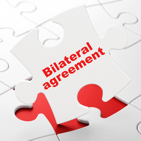 brainteaser: Insurance concept: Bilateral Agreement on White puzzle pieces background, 3D rendering
