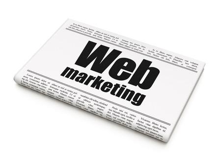 newspaper headline: Web design concept: newspaper headline Web Marketing on White background, 3D rendering Stock Photo