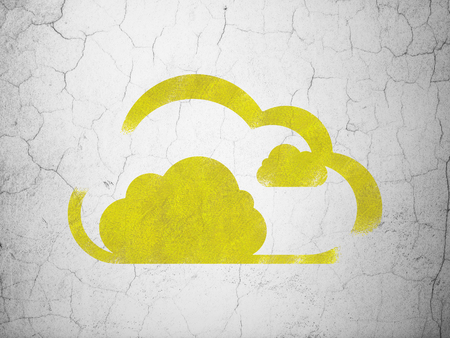 wall cloud: Cloud technology concept: Yellow Cloud on textured concrete wall background