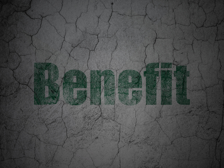 cement solution: Finance concept: Green Benefit on grunge textured concrete wall background