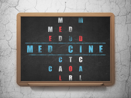 word medicine: Healthcare concept: Painted blue word Medicine in solving Crossword Puzzle on School board background, 3D Rendering