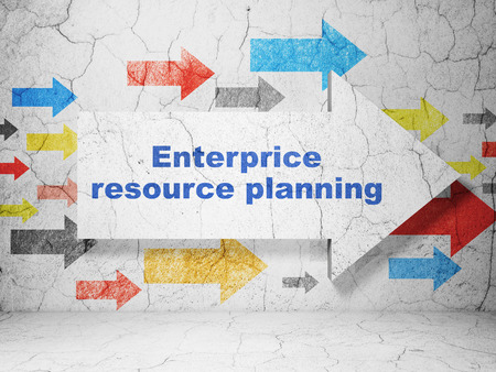 urban planning: Business concept:  arrow with Enterprice Resource Planning on grunge textured concrete wall background, 3D rendering Stock Photo