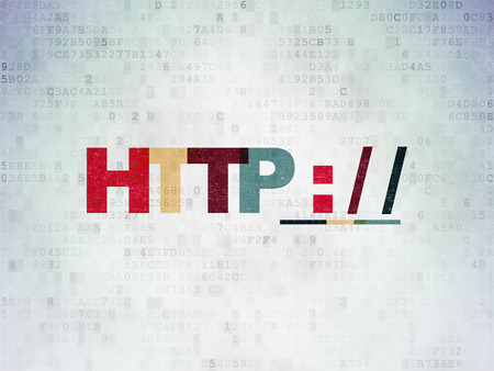 hypertext: Web development concept: Painted multicolor text Http :   on Digital Data Paper background Stock Photo