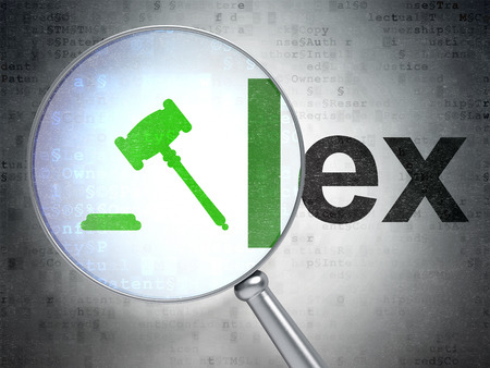 lex: Law concept: magnifying optical glass with Gavel icon and Lex word on digital background, 3D rendering Stock Photo