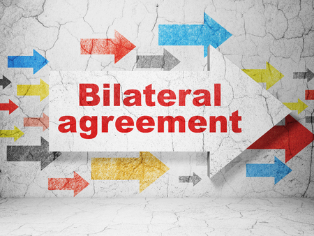 bilateral: Insurance concept:  arrow with Bilateral Agreement on grunge textured concrete wall background, 3D rendering