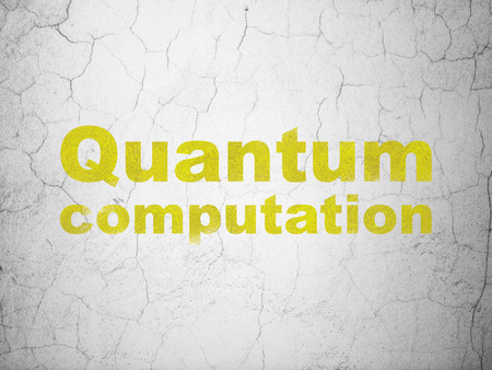 computation: Science concept: Yellow Quantum Computation on textured concrete wall background