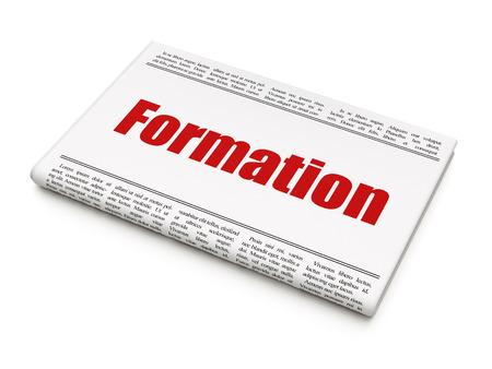 newspaper headline: Learning concept: newspaper headline Formation on White background, 3D rendering