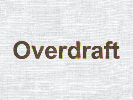 overdraft: Business concept: CMYK Overdraft on linen fabric texture background