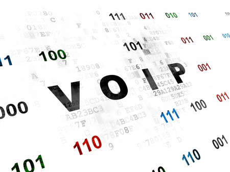 voip: Web development concept: Pixelated black text VOIP on Digital wall background with Binary Code