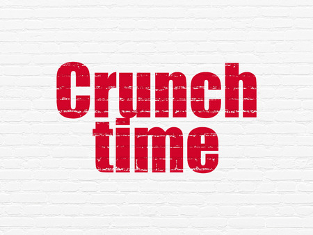crunch: Business concept: Painted red text Crunch Time on White Brick wall background