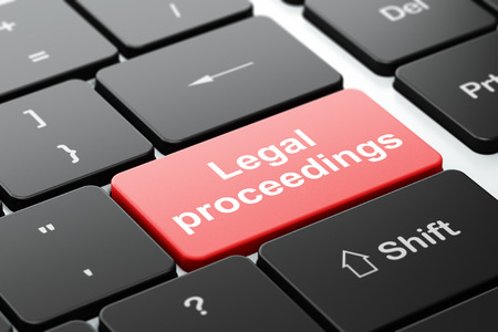 proceedings: Law concept: computer keyboard with word Legal Proceedings, selected focus on enter button background, 3D rendering Stock Photo