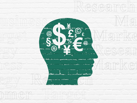 head tag: Marketing concept: Painted green Head With Finance Symbol icon on White Brick wall background with  Tag Cloud Stock Photo