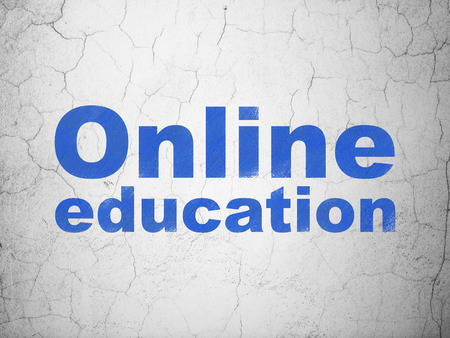 antique sleigh: Education concept: Blue Online Education on textured concrete wall background Stock Photo