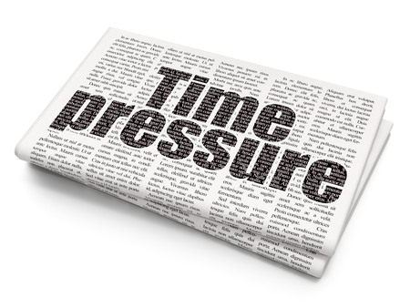 time pressure: Time concept: Pixelated black text Time Pressure on Newspaper background, 3D rendering