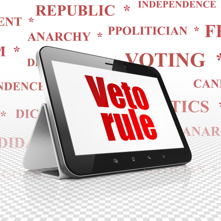 veto: Political concept: Tablet Computer with  red text Veto Rule on display,  Tag Cloud background, 3D rendering