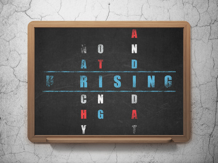 uprising: Political concept: Painted blue word Uprising in solving Crossword Puzzle on School board background, 3D Rendering